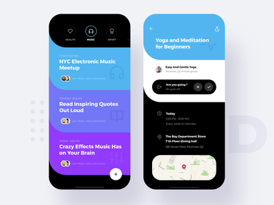 Social Meetup Dark theme round curve dark colorful activities categories map discover platform social meet up meeting meet apple list interface material ui flat app