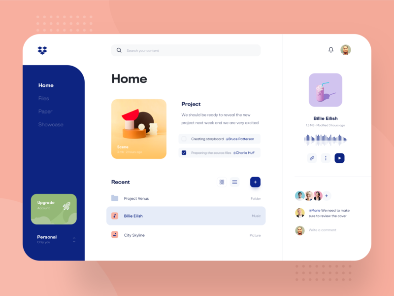 Dropbox Desktop Redesign - Web Dashboard Product Design minimal colorful tablet development clean interface material app ui documents browser dropbox dashboard crm team management desktop