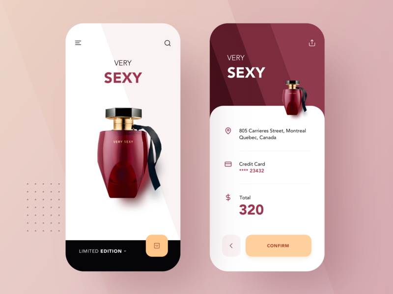 Perfume - Very Sexy clean modern limited luxurious luxury high-end expensive jewelry buy store e-commerce perfume mobile apple list interface material app ui flat