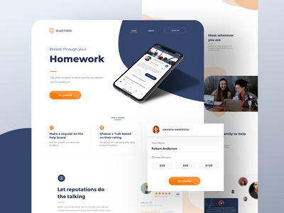 StudyTable - Case study Landing Page & Branding for Students landing page scroll android ios 3d logo typography branding brand young modern app learning education student conversion engaging website design web landing