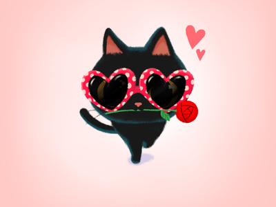 Picked it up on the way🌹💌 valentines day card drawing illustration cute rose blackcat cat stickers imessage stickers mojitock emoticon emoji doodle event gift valentinesday valentine character