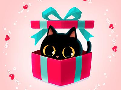 Be My Valentine😻🌹💌 gift catlover mojitok cute surprise giftbox emoticon emoji stickers stickers for imessage characterdesign blackcat cat valentinesgift