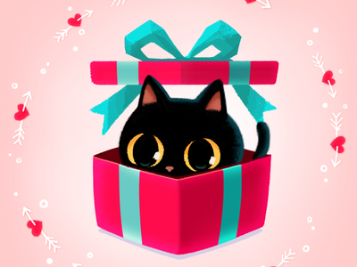 Be My Valentine😻🌹💌 gift catlover mojitok cute surprise giftbox emoticon emoji stickers stickers for imessage characterdesign blackcat cat valentinesgift