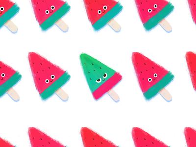 Watermelon Icecream digitaldraw photoshop emoji illustration cute drawing doodle character watermelon