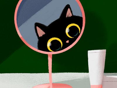 peeking black cat digitaldrawing procreate blackcat illustration cat drawing doodle cute character