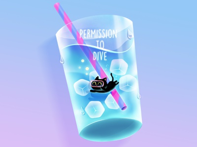 Permission to Dive! ice drink blackcat drawing cat ice diving permission to dive illustration character