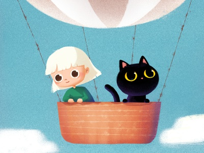 Sky travel 🎈 character design black cat photoshop drawing doodle painting air balloon sky girl character picturebook digitaldrawing ipad cat illustration character cute