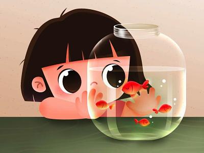 Girl with fishes fishbowl fish vector digital art girl drawing cute illustration character