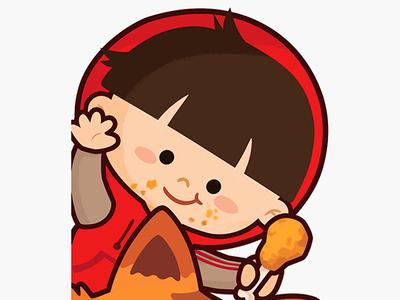 Hi! chicken children vector cute design doodle character