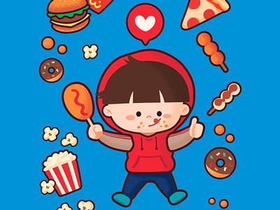 Like it Like it cute photoshop vector foodfighter boycharacter boy character healthy appetite