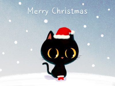 Merry Christmas! character design christmascard emoji blackcat illustration doodle photoshop cat drawing animal cute character
