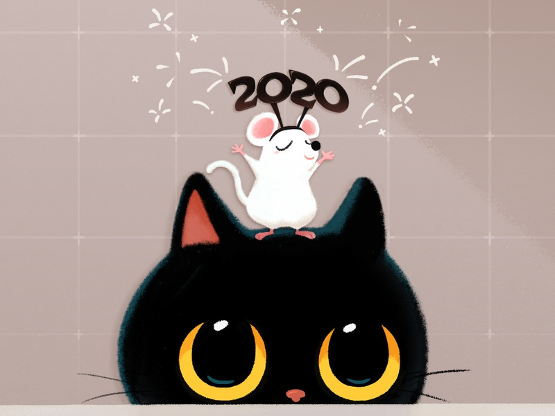 2020 Happy New year! blackcat cat drawing animal illustration doodle cute hamster charcater mouse character happynewyear 2020