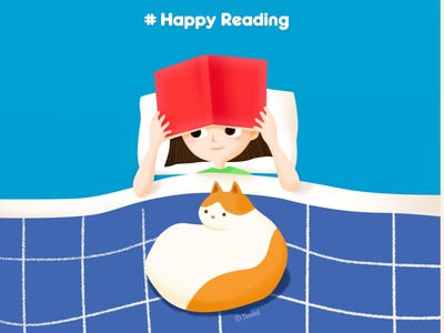 New year's resolution #Reading photoshop drawing reading happyreading dailylife girl cat character illustration doodle