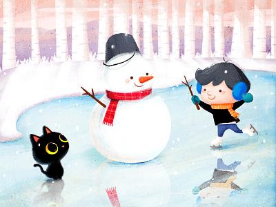 ❄️❄️❄️ skate snow cat animal illustration character cute doodle snow day winterillustration winter snowman