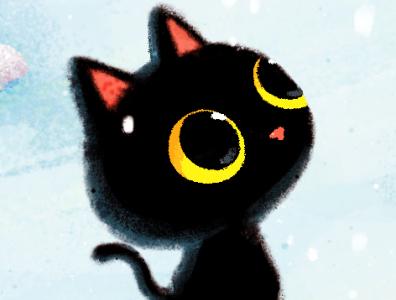 snow blackcat illustration drawing animal cat character cute blackcat