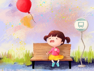 🎈👧 children childrens book childrens illustration girl balloon drawing cute doodle illustration character