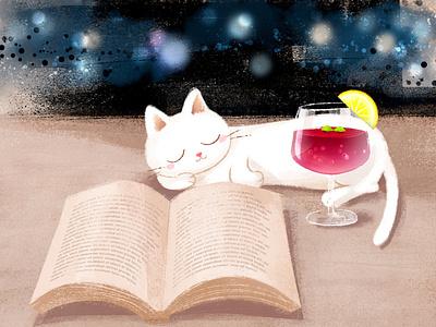 Sangria🍷✨ chilling cat night sangria 🍷