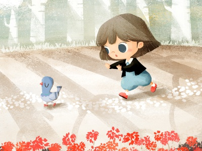 Following a bird🕊️ dribbble baby girl pigeon dove bird drawing illustration cute character