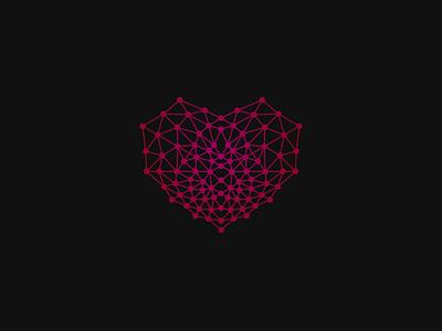 Connected Heart biotics web biology chemistry love food tech logo heart