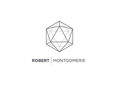 Robert Montgomerie white minimal geometric logo