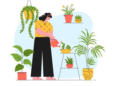 Houseplant care illustration woman plants care girl houseplant slow living character vector