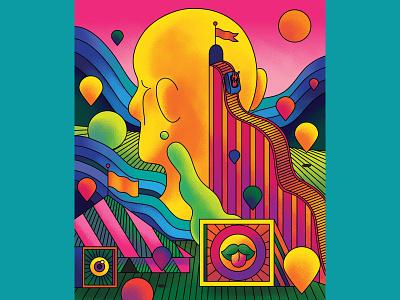 Theme Parks - BBC Science Focu bright landscape surreal theme park editorial art editorial illustration editorial fun retro colour color graphic illustration