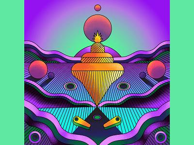 Refill the Fountain orbs fountain green yeallow purple landscape surreal album art album artwork album cover vector art direction retro graphic illustration