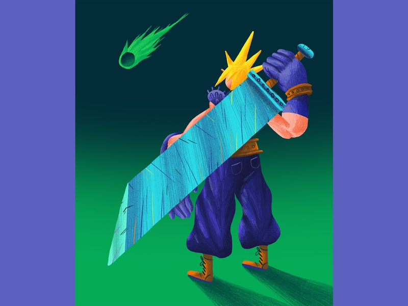 Cloud Strife final fantasy 7 ff7 yellow blue purple green personal fun character design art direction color colour illustration