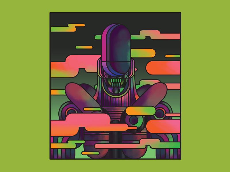 Alien alien movie film vector character design art direction colour color graphic illustration