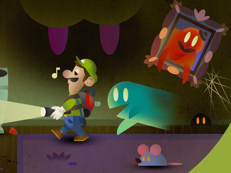 Luigi's Mansion illustration ghosts luigi super mario bros luigis mansion mansion poltergust 3000 gamecube nintendo
