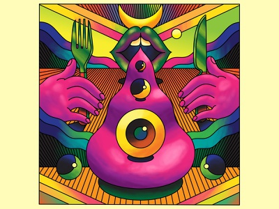 The Celestial Feast - Ride the Sunrise Exhibition vector surrealistic surreal art surreal bright landscape illustration psychedelia psychedelic retro art direction color colour graphic illustration