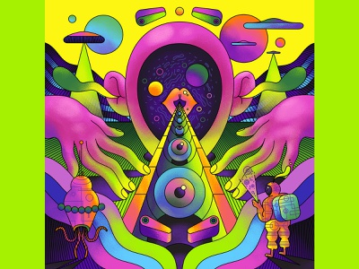 Space Oddity - Affinity psychedelic surreal advertising vector illustration vector art vector affinity affinity designer fun retro art direction colour color graphic illustration