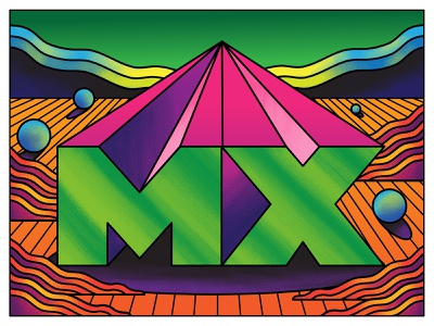 MX mx logitech psychedelic vector fun retro art direction colour color graphic illustration