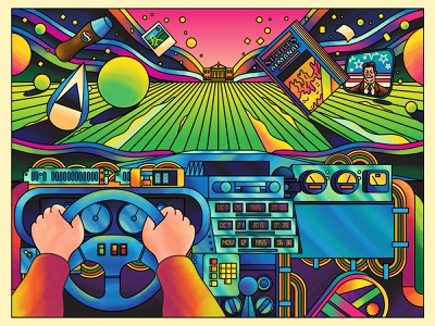 88 MPH - A flux in Time Art Show bold pink yellow green blue car interior car advertising bttf film vector exhibition fun retro art direction colour color graphic illustration