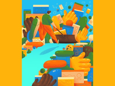 Goodbye clickbait, hello community - BBC Science Focus blue yellow orange green newspaper illustration magazine illustration texture bold bright fun emoji internet editorial editorial illustration character design art direction colour color graphic illustration