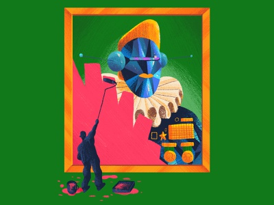 Lets rewrite the Future - BBC Science Focus orange blue green figure medals painting android robot newspaper illustration newspaper magazine illustration magazine editorial illustration editorial fun art direction colour color graphic illustration