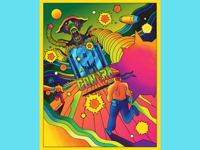 Contra - Nes oNE Sheet Art Show gaming nintendo nes video game psychedelic psychedelic art print art show vector exhibition fun retro art direction colour color graphic illustration