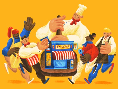 A Fair Slice - Mother Jones food take away pizza brown blue red yellow bright chef newspaper illustration editorial illustration magazine illustration editorial character design art direction colour color illustration