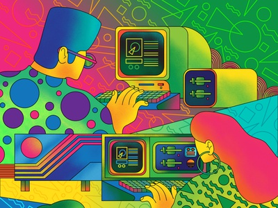 More than Meets the Eye - BBC Science Focus fun colors colours vivd bright retro technology retro tech computers 80s retro drawn newspaper magazine editorial art vector editorial illustration illustration