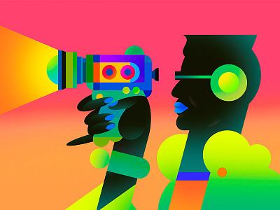 Super 8 profile woman figurative art direction neon bright vivid personal work super 8 film camera cameras 80s retro