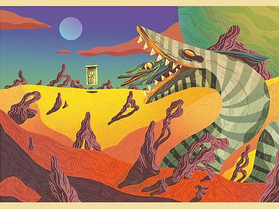 Sandworm - postcard art show planet titan sandworm beetlejuice gallery 1988 postcard correspondence show