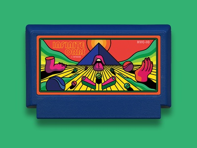 Infinite Orbs - Famicase 2018 bright landscape hand tongue mouth foot pyramid cart nes famicom famicase orbs