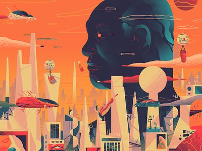 Future SoftBank profile head robots drones cars future city landscape editorial illustration