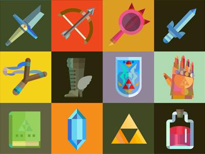 zelda Items items icons zelda triforce colour color design graphic grid