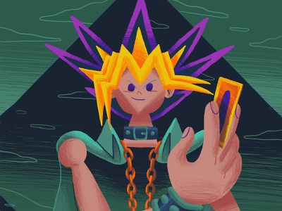 Yami Yugi - Yu Gi Oh Art Show gallery 1988 official yu gi oh character anime television art show exhibition character design art direction illustration