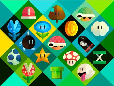 Mario items super mario super mario bros mario illustration wallpaper icons iphone ipad graphic items colors colours