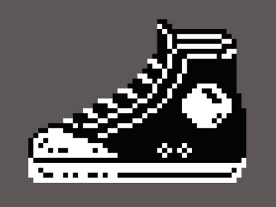 Converse Sneaker trainers sneakers cons converse pixel pixel art two color two colour bw black  white simple 8bit