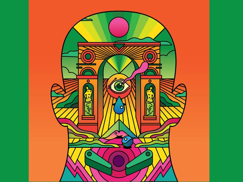 Back on the Outside Album cover landscape surreal psychedelic record cover album art album cover vector retro art direction colour color graphic illustration