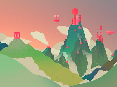 Majestic Landscape landscape illustration fantasy hills mountains buildings castles clouds air ships colours sunset sunrise personal temple