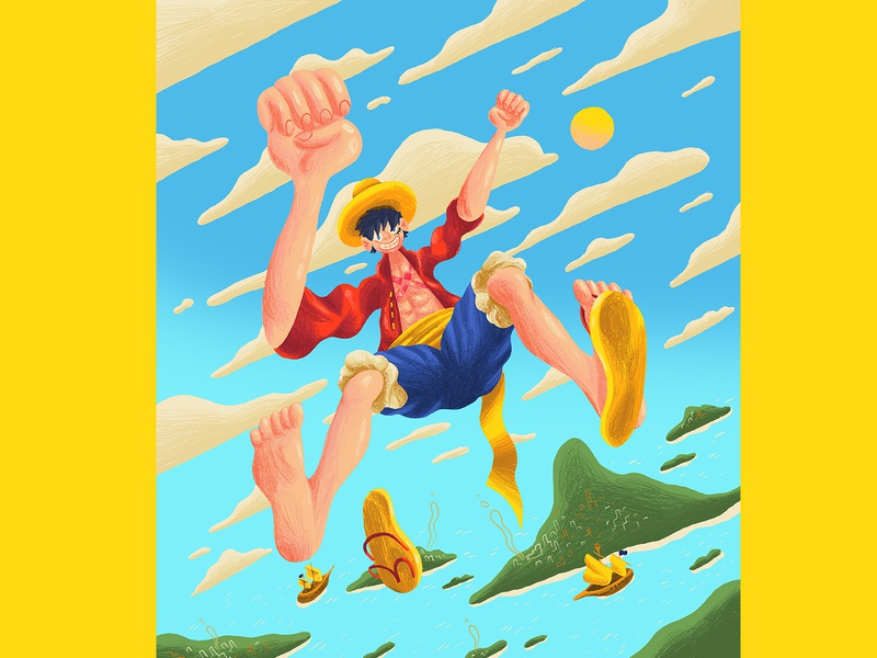Monkey D Luffy - Bustercall one piece pirates bright shading texture pencil drawn intellectual property ip character design art direction colour color graphic illustration